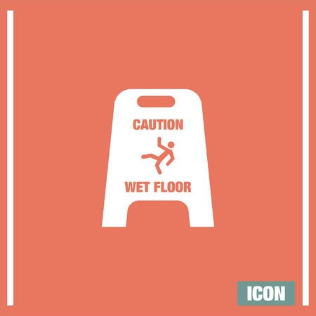 is wet: Slippery wet floor vector icon. Warning sign. Attention dangerous symbol Illustration