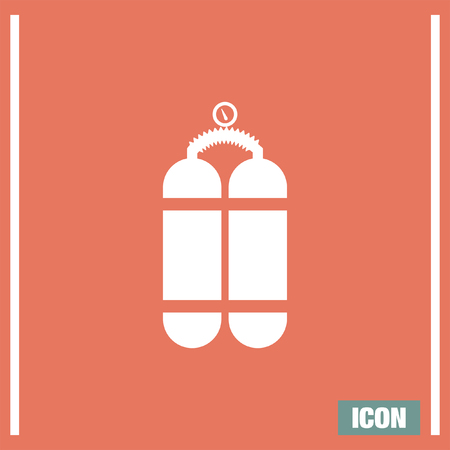 gas cylinder: Oxygen cylinder vector icon. Oxygen container sing. Diving equpment symbol