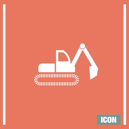 bagger: Dredge symbol vector icon. Bagger sign. Construction vehicle symbol