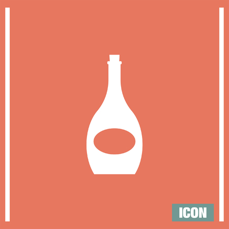 wineglass: Wine bottle vector icon. Alcholoic beverage symbol. Wineglass sign Illustration