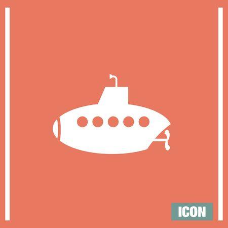sonar: Submarine vector icon. Persicope sign. Water explorationg symbol Vettoriali