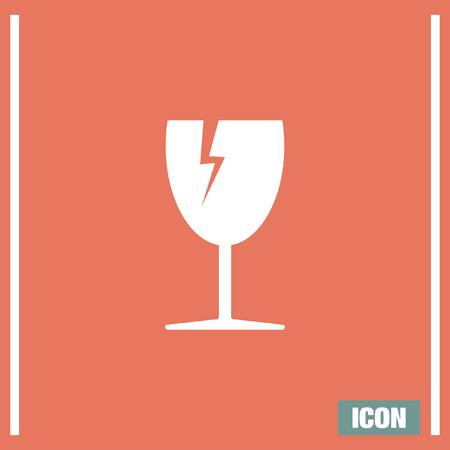broken glass: Fragile transport vector icon. Broken glass sign. Energy drink symbol