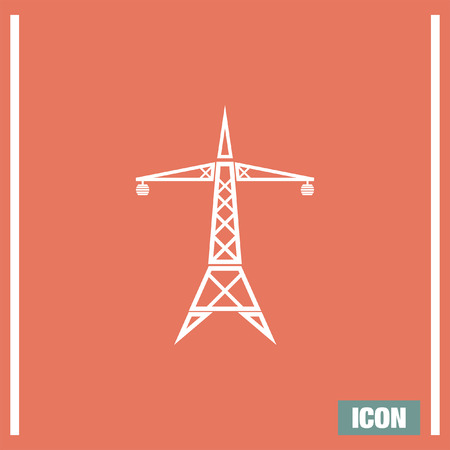 electric tower: Power line vector icon. Electric tower sign. High electricity tansmission symbol Illustration