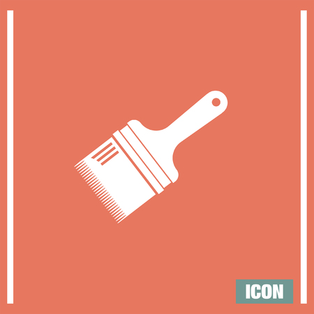 constuction: Paint brush vector icon. Painting tool sign. Constuction equipment symbol