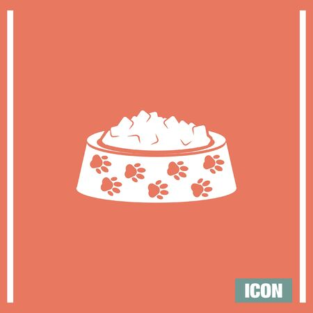 animal feed: Pet food vector icon. Dog bowl with meal sign. Animal feed and nutritition symbol