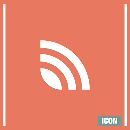 web feed: RSS news feed vector icon. Signal strenght sing. Internet symbol