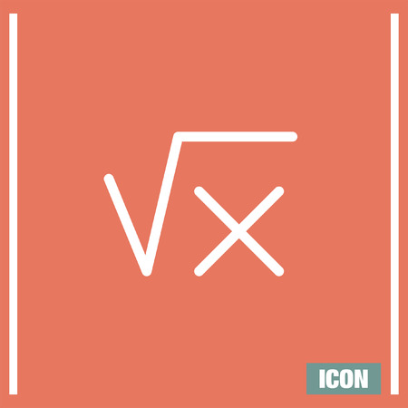 math icon: Square root sign line vector icon. Calculator symbol. Math sign icon.