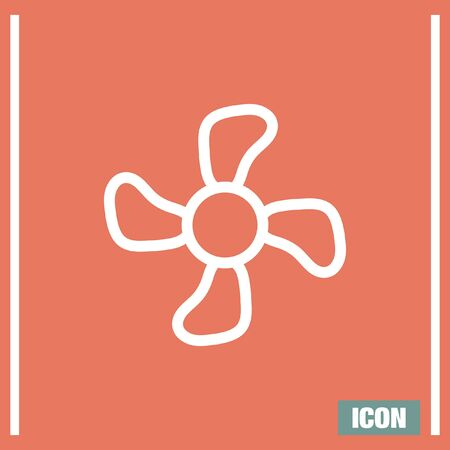rotor: Fan sign line vector icon. Ventilation icon. Propeller symbol. Illustration