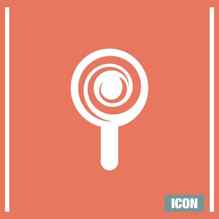lollypop: Candy cane vector icon. Sugar lollipop symbol. Sweet lollypop signl.
