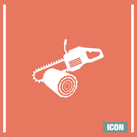 Chainsaw with stump vector icon. Timber industry symbol. Illustration