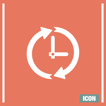 ticker: Clock vith arrows vector icon. Time shower sign. Ticker symbol.