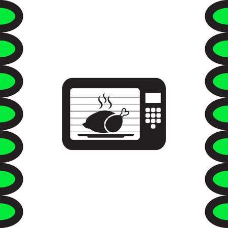 microwave ovens: Microwave oven vector icon. Electric cooking device sign. Chicken roasting symbol