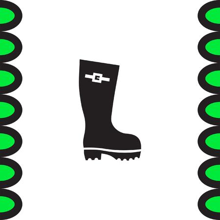 gumboots: Rain boot vector icon. Rubber footwear sign. Gumboot symbol
