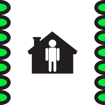 real people: Man at home vector icon. Male in house sign. Father symbol Illustration