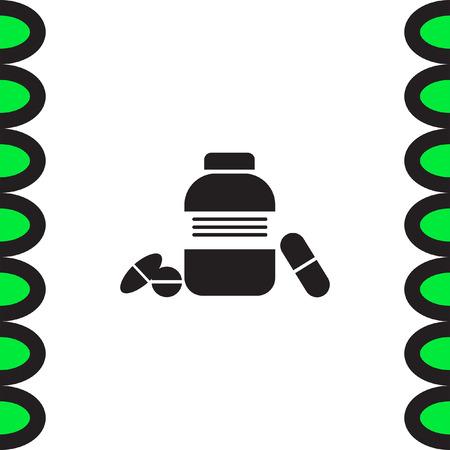 prescription bottles: Bottle with pills vector icon. Pharmacy sign. Health care medicament symbol.