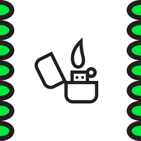 smokers: Lighter sign line vector icon. Tobacco burner sign. Cigarette symbol Illustration