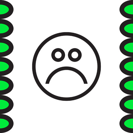 Sad Face Sign Line Vector Icon Emoticon Sign Sadness Symbol