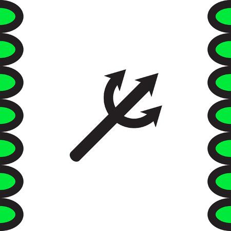 pitchfork: Devils Trident vector icon. Poseidon weapon sign. Aqua park symbol