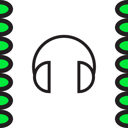 headset symbol: Headphones headset sign line vector icon. Music sign line icon. Volume control sign. Sound control symbol.
