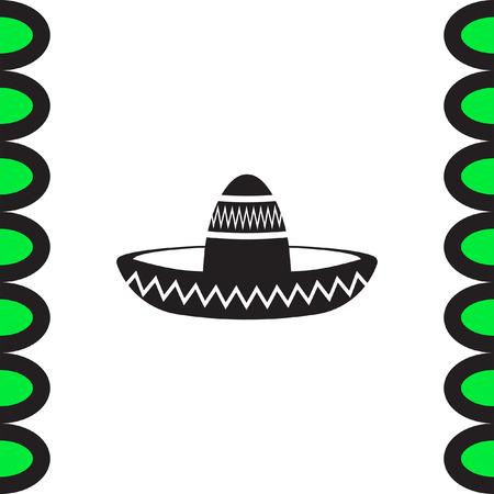 head wear: Sombrero hat vector icon. Mexican fashion sign. Mariachi head wear symbol