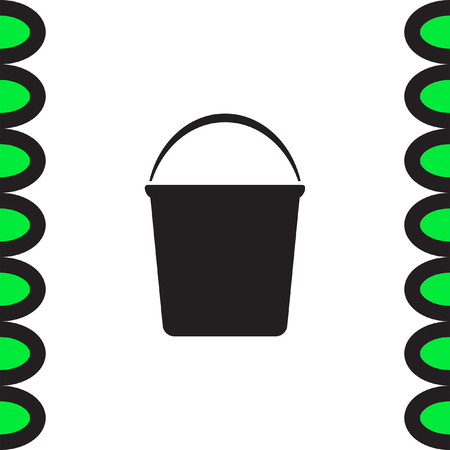 paint container: Water Bucket vector icon. Wash equipment sign. Household hygiene sign.