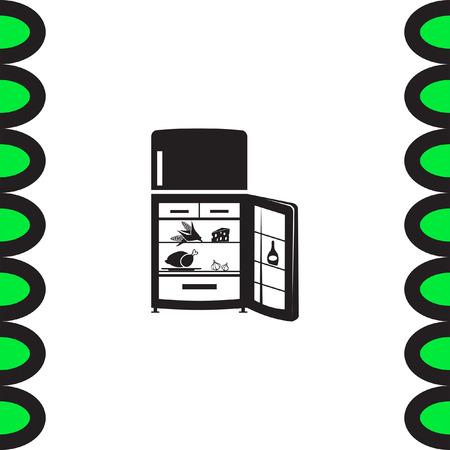cold steel: Refrigerator vector icon. Fridge sign. Kitchen refrigeration device symbol