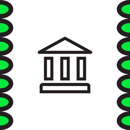 roman pillar: Bank sign line vector icon. Institution sign vector icon. Illustration