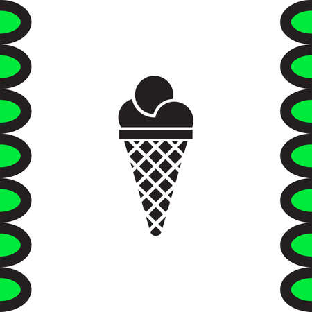 sweet treat: Ice cream vector icon. Sweet treat sign. Summer sweets in cone symbol