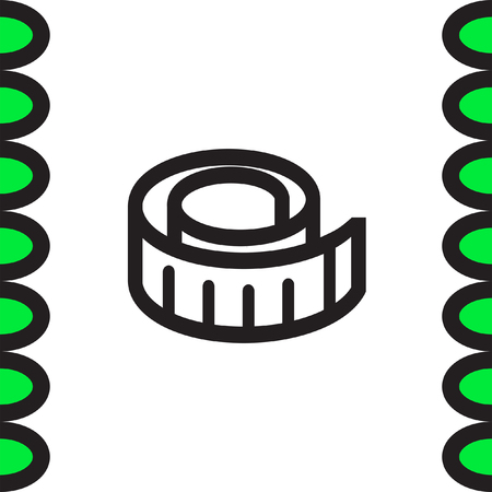 metric: Measure tape vector icon. Measuring device sign. Construction measurement symbol Illustration