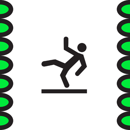 slippery: Slippery wet floor vector icon. Warning sign. Attention dangerous symbol Illustration