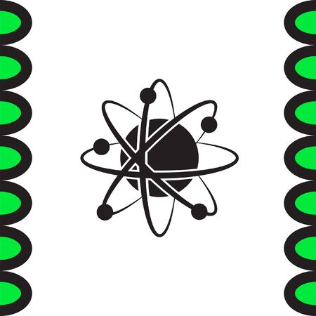 nuclear sign: Atom model vector icon. Science symbol. Nuclear technology sign. Molecular biology sign. Illustration