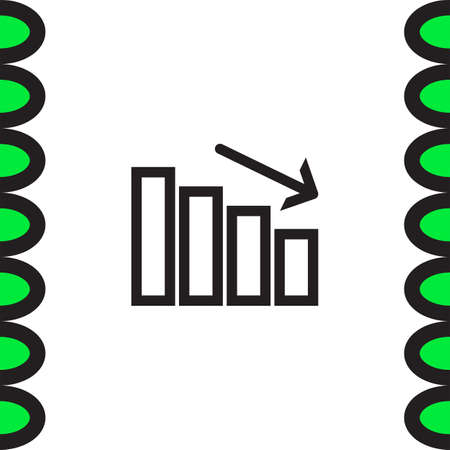declining: Chart with bars declining line vector icon. Decrease sign line icon. Finance graph line icon. Illustration