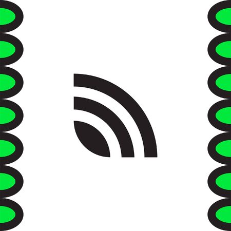 publishes: RSS news feed vector icon. Signal strength sing. Internet symbol