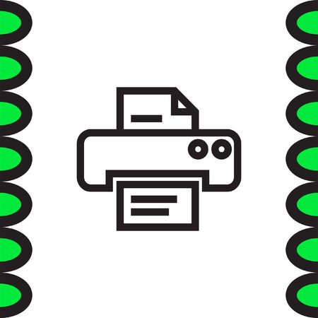 laser printer: Printer sign line vector icon. Print document technology sign. Office printing device symbol. Illustration