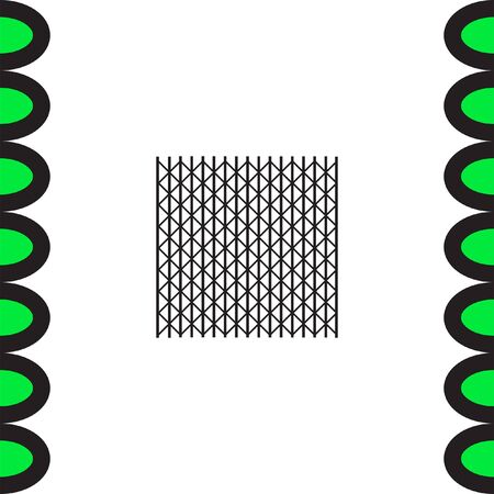 symbol fence: Metal fence vector icon. Iron gate. Steel security entrance symbol