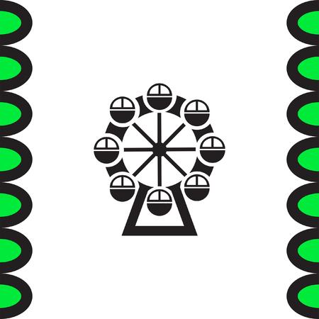 Ferris Wheel vector icon. Amusement park sign. Luna park symbol Illustration