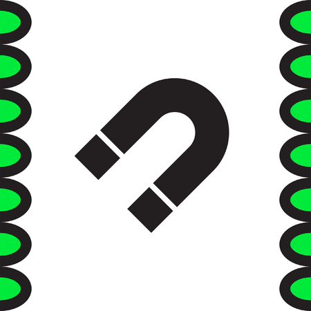 attract: Magnet sign vector icon. Magnetic power sign. Physics symbol.