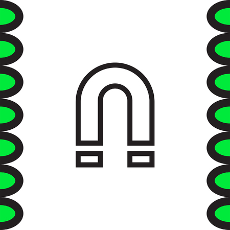 electromagnetic: Magnet sign line vector icon. Magnetic power sign. Physics symbol.