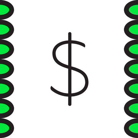 usd: Money sign line vector icon. Dollar sign vector icon. Cash icon. USD currency symbol. Illustration