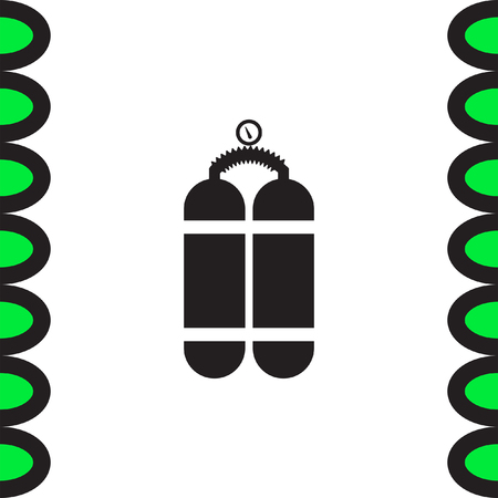 compressed gas: Oxygen cylinder vector icon. Oxygen container sing. Diving equipment symbol Illustration