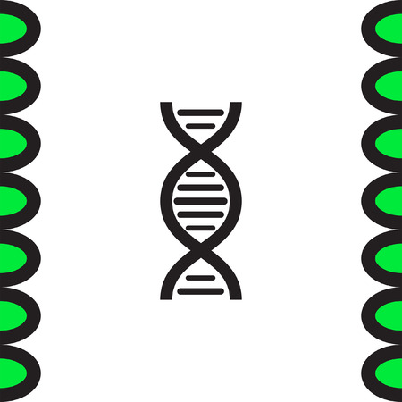 genetic: DNA chain sign vector icon. Genetic structure sign. Biology science symbol.