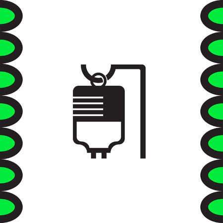 venous: IV bag medical vector icon. Infusion sign