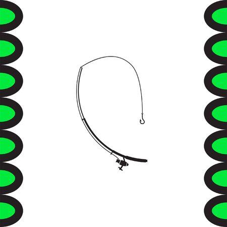 rod sign: Fishing rod vector icon.  Fisherman equipment sign.