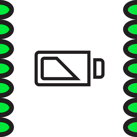 alkaline: Battery half sign line vector icon. Electrical power sign. Rechargeable energy symbol.
