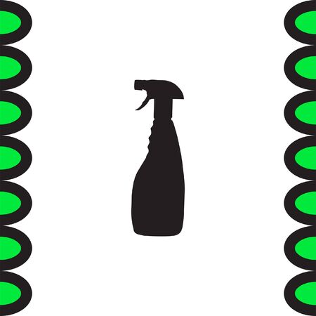 disinfection: Household cleaning bottle vector icon. Disinfection spray sign. Liquid detergent symbol