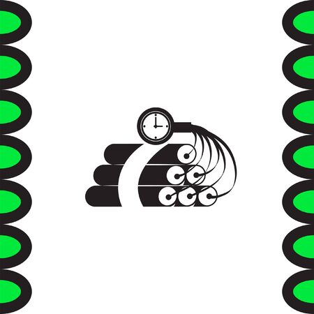 dynamite: Dynamite time bomb vector icon. Explosive sign. Destruction equipment symbol Vectores