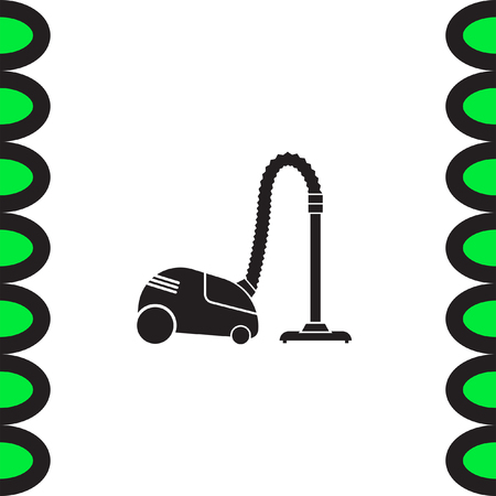 vac: Vacuum cleaner vector icon.   Household cleanup symbol