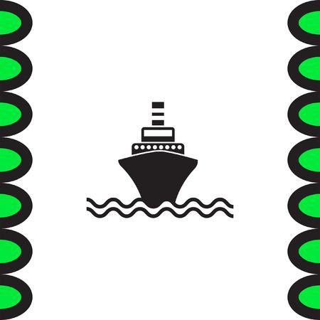 oversea: Ship vector icon. Oversea shipping sign. Nautical journey symbol