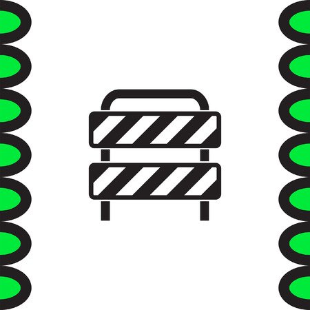 roadblock: Traffic barrier vector icon. Road block sign. Safety barricade symbol.
