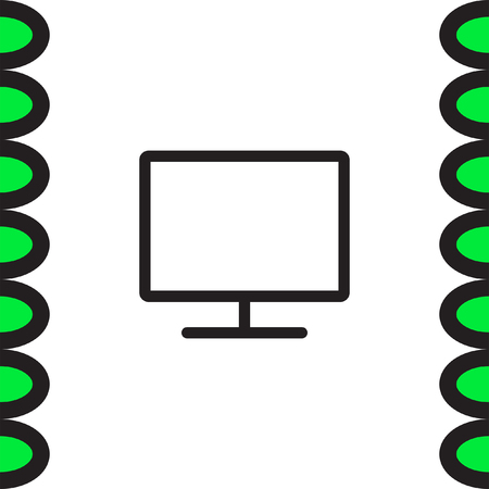 pc monitor: Monitor vector icon. PC screen icon. PC monitor symbol. Led TV sign. Wide screen display symbol.
